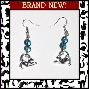 Playful Cat Earrings with Blue Kyanite Gemstone